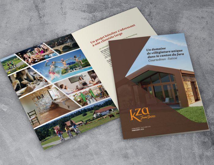Une plaquette de présentation pour un projet de villégiatures en Suisse