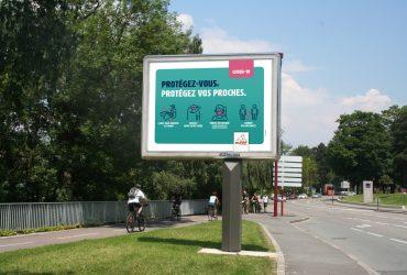 À l'affiche,  une communication de prévention contre le Covid-19